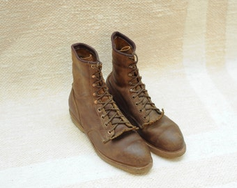 Vintage Safety First Brown Leather Roper Work Boots, Made in USA, Mens 8 1/2 / ITEM080