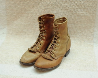 Vintage D D Tuff Brown Leather Roper Boots, Made in USA, Mens 9 1/2