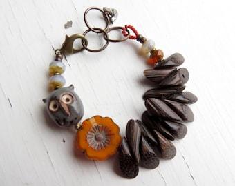 At Home - handmade bracelet, owl bracelet, orange bracelet, wood bracelet, grey bracelet, owl jewellery, songbead, uk jewellery, fall