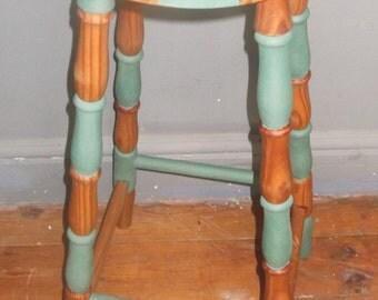 "Bespoke bar stool hand painted ""Willy Wonker"" style."