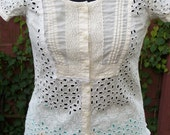 Steampunk White Eyelet Lace Blouse with Vintage Lace Trim - Junk Gypsy Clothing - Size XSmall