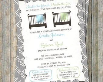 Joint Baby Shower Invitation, double shower crib and blanket, two boys, light blue and green Digital, Printable file