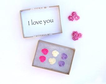 Little Girl Earrings, I Love You Gift, Rose Earring Posts, Gift Set, Pink Rose Studs, Girls Earrings, Flower Girl Jewelry, Gifts For Girls