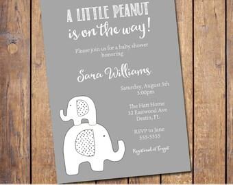 Elephant Baby Shower Invitation, gender neutral baby shower invitation, little peanut elephant shower, printable, digital invite (JPD327)