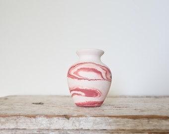 Vintage Nemadji Pottery - Red Pink Swirl Pottery Handmade Vintage Vase Indian Native American Nemadji Boho Bohemian Pottery