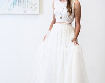 Em Wedding Dress  // Boho Tea Dyed Sleeveless /Tie Back/ Lace /Crop Top With High Waisted/ Sequin and Organza Skirt/ High Low Illusion  Hem