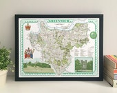 Greenwich (Borough) illustrated map giclee print