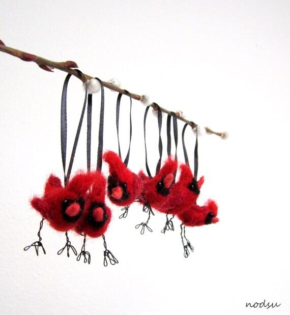 Christmas Decorations Red Birds : Red cardinal bird ornaments set of christmas decor by nodsu