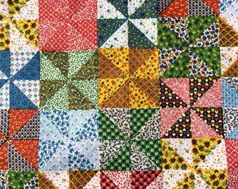 Vintage 1950's Faux Quilt Pinwheel Fabric - 3 7/8 Yards