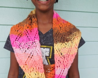Infinity Scarf, Neckwarmer is a Riot of Colorful Handknit Warmth