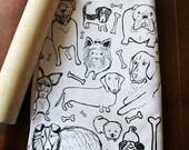 Organic Cotton Kitchen Tea Towel - Dogs - Hand Printed