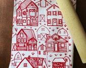 Organic Cotton Kitchen Tea Towel - Farmhouse - Hand Printed