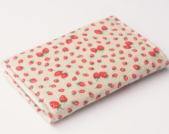 Linen Business Card Holder,  Fabric Credit Card Case, Small Wallet, Strawberries