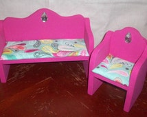Wooden Doll Furniture Living Room Chair and Couch Novelty Display Furniture, Barbie Doll Size, Pink Doll Furniture, Custom Color