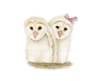 Barn owls art print by Fiammetta Dogi 5x7