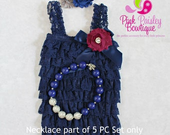 Petti Lace Romper- Ruffle Rompers - Baby Romper - Navy Petti Romper - Navy Blue Romper 1st Birthday Outfit -  Baby Rompers - Newborn Outfit
