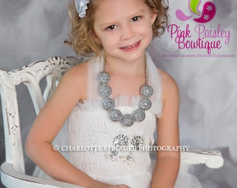 Baby Necklace, SILVER Bubblegum necklace, Chunky bubbleGum necklace, chunky baby necklace, girls sparkle necklace, 1st Birthday Necklace
