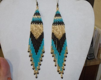 Native American Style Beaded Turquoise Gold Brown Earrings Shoulder Duster Boho, Southwestern, Hippie long Twisted