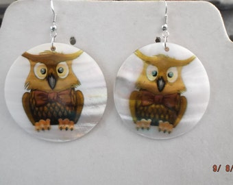 SALE Brown Owl Shell Earrings so Cute Hippie, Hipster 3 in. Southwestern, Native Wise Owl Great Gift Ready to Ship
