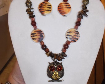 SALE Native Beaded Owl Statement Necklace and Earrings Tiger Eye, Aget and gold Stone Southwestern, Hippie, Boho Ready to Ship