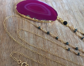 SALE Pink Agate Slice Necklace // Gold Geode, Wire Wrapped Rosary Chain, Black Spinel Stone, Beaded Gemstone Necklace, Long Delicate Layer