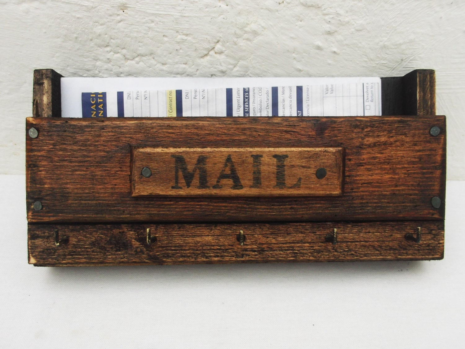 Wall mail organizer and key rack wooden wall mounted mail - Wall mounted mail organizer and key rack ...