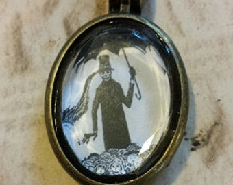 Double-Sided Edward Gorey Locket-Style Necklace
