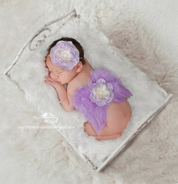 Lilac Angel Feather Baby Wings with Skinny Elastic Headband, for newborns, photo shoots, photographers, baby photo, baby girls