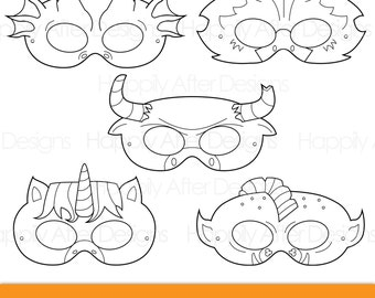 Mythical Creatures Printable Coloring Masks Dragon Mask Unicorn Minotaur Troll Gryphon