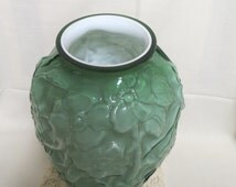 Vintage Cased Glass Vase Green Apple Blossoms Phoenix Consolidated Glass Company Polished Glass Top