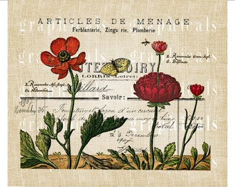 Primitive red flowers French receipt Instant graphic Digital download image transfer for iron on burlap pillow decoupage papercraft No.2242