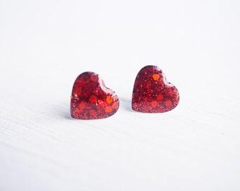 Red Glitter Heart Stud Earrings