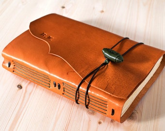 Leather bound Journal, Leather Traveler Notebook, Leather diary , Custom Notebook optional, wedding Gift for her, orange tones MEDITATIO A6
