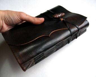 "Leather Journal, Leather Notebook, Black- Reddish Blank Book, Traveler Journal. ""Antiqued Meditatio"" A6 size."