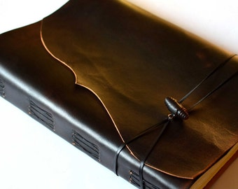 "Wedding GuestBook, Large Leather Journal, Leather Photo Album, Black - Reddish Sketchbook.  ""Antiqued Meditatio"". A4 size"
