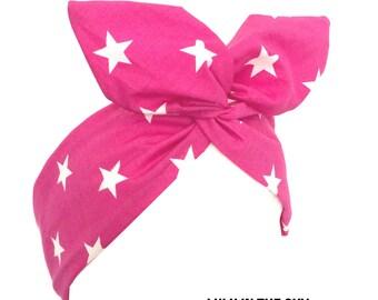 Pink star print wire headband hair wrap Kawaii Pin up