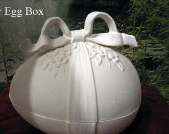 Large, Easter Egg, Egg Box, Candy dish,  Decorative Egg, Egg with Ribbon,Holiday Egg,Easter Decoration,Ready to paint,Ceramic bisque,u-paint