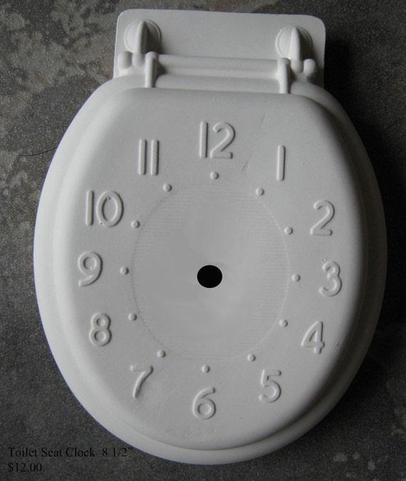 Toilet Seat Clock, Unique, Wall clock, Bathroom decor, Vintage Clock, Ready to paint, u-paint, Ceramic bisque