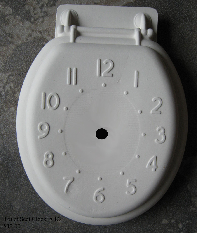 Toilet seat clock unique wall clock bathroom decor vintage for Bathroom clock ideas