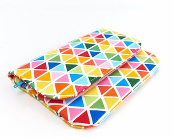 Padded Phone Wallet Geometric iPhone 6 Case with Zip Pocket Rainbow Bright