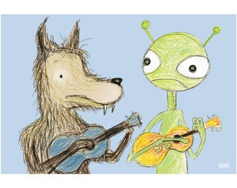 Ukulele card 5x7 werewolf and alien playing ukuleles - the cool thing about our friendship is that next to you I feel normal