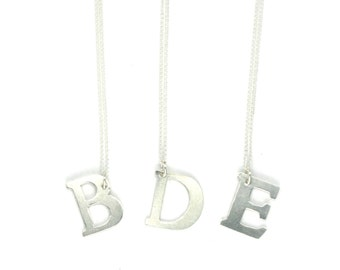 Alphabet Letter Necklace - Sterling Silver - Handmade Custom Jewelry