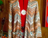 Vintage 1970's metallic thread knit cardigan with chevron pattern Size S XS
