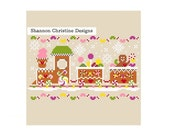 Primitive Gingerbread Train Cross Stitch Pattern Simplified Design Christmas Shannon Wasilieff Ornament Decoration Candy Chocolate Fun