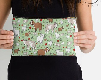 Goat Illustrated Zip Pouch, Make Up Bag, Pencil Case