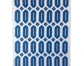 Navy blue Hexagon linen tea towel