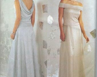 Butterick Size 6 8 10  Elegant Dress Pattern Prom  Wedding Evening Gown Flared Lined Dress Sleeveless Side Zipper Evening Dress Size Med