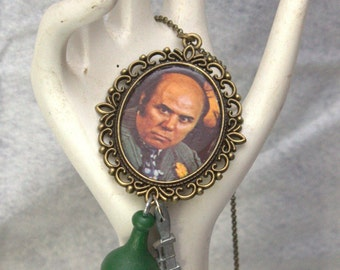 Mr. Green vintage Clue game necklace 1970s FLAT RATE SHIPPING