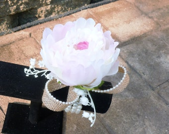 Peony wrist corsage, wristlet, lilies of the valley, burlap, pearl wristlet
