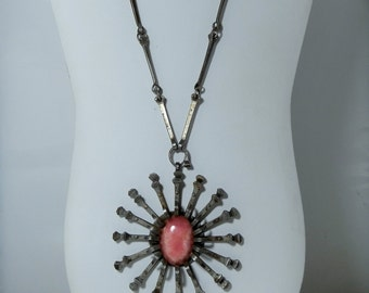 Vintage Iron Nail Pendant Necklace Hand Made Artisan Piece made of Nails and Rhodochrosite Very Unique Handcraft DanPickedMinerals